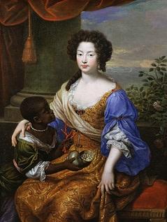 """Lebender Zierrat"": Duchess of Portsmouth mit Diener (Louise de Kerouaille, 1682)"