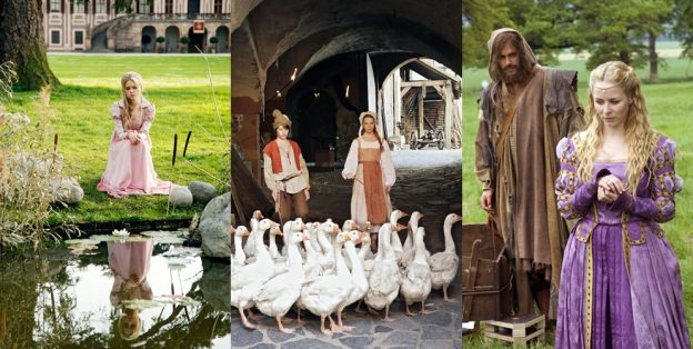 """Szenenfotos aus """"Der Froschkönig"""" (2008, v. l. n. r.), """"Die Gänsemagd"""" (2009) und """"König Drosselbart"""" (2008)"""