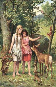 Schneeweißchen und Rosenrot. Postkarte von Oskar Herrfurth (um 1914)