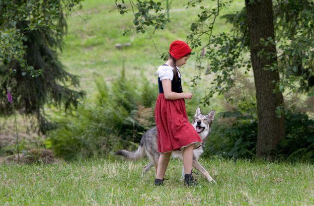 """""""Rotkäppchen"""" (2005): Leonie (Kathleen Frontzek) trifft im Wald den gar nicht so bösen Wolf / © ZDF"""
