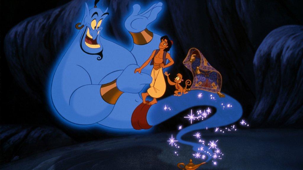Aladdin (1992): Der animierte Titelheld mit seinem Affen Abu, dem fliegenden Teppich – und dem Dschinni / © Disney