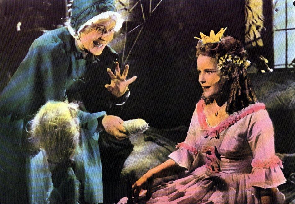 Dornröschen (1955): Fee (Elfe Schneider) und Prinzessin (Angela v. Leitner) / © Medienproduktion/Vertrieb Genschow