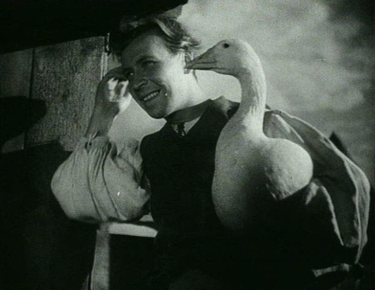 Hans im Glück (D 1936): Die Titelfigur (Erwin Linder) hat ein Schwein gegen eine Gans getauscht / Quelle: VZ Medien