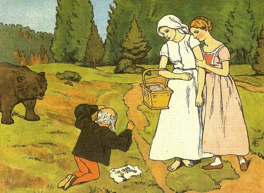 Schneeweißchen und Rosenrot (1910): Lena Baurnfeind illustrierte es im Jugendstil / Quelle: Grimm-Bilder Wiki