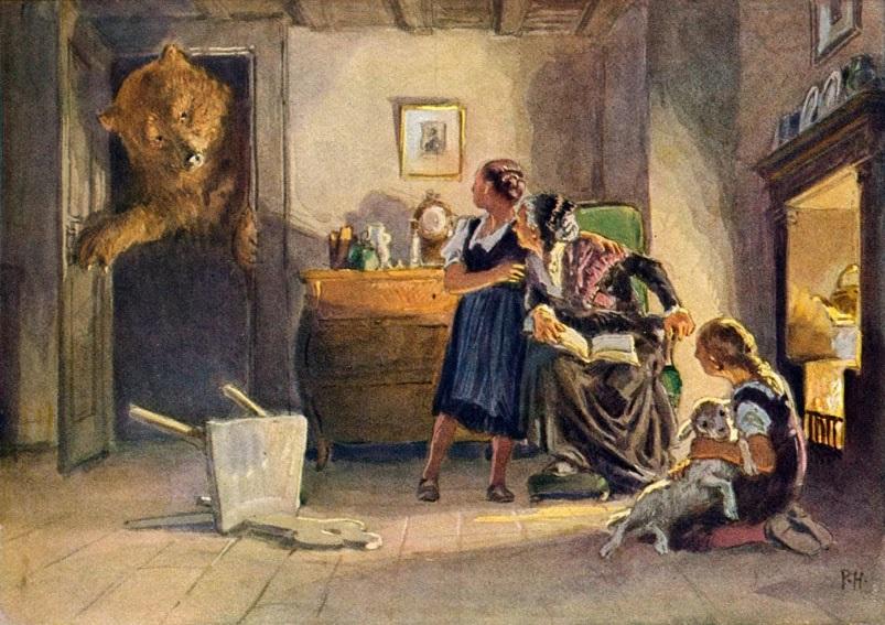 """Schneeweißchen und Rosenrot (1939): Auch Paul Hey (""""Maler heiler Welten"""") zeichnete es / Quelle: Grimm-Bilder Wiki"""